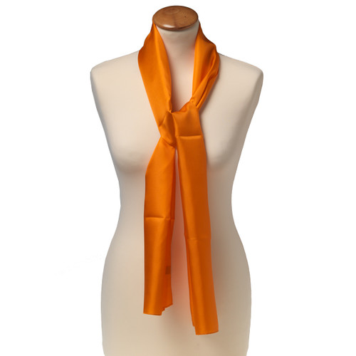 Foulard rectangle soie pour femme   orange bca038fe775